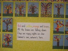 Great torn-paper art project, good for fine motor development - Fall trees bulletin boards