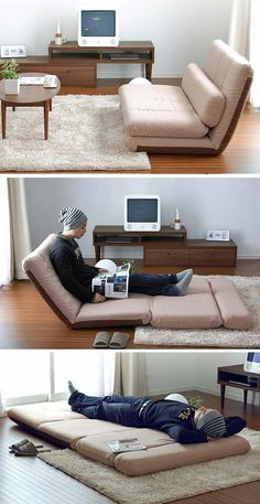Folding sofas, beds and chaise-lounges for small spaces | http://www.godownsize.com/space-saving-beds-sofa-chaise-lounge/