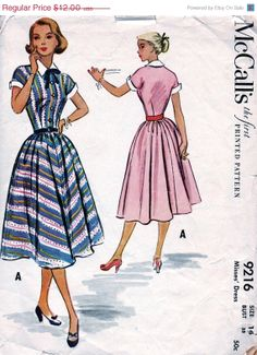 Sale Vintage 1950's Women's Dress Pattern 9216 // by anne8865, $10.20