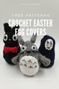 Totoro, Jiji and No Face. all with a chocolate Easter surprise! Check out these free crochet patterns for Studio Ghibli inspired egg cosy designs. Easter Egg Pattern, Easter Crochet Patterns, Minion Eggs, Mike From Monsters Inc, Studio Ghibli Characters, Toy Story Alien, Easter Chocolate, Craft Free, Cat Crafts