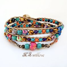 Gypsy wrap bracelet colorful beaded handmade wrap by MSwithlove