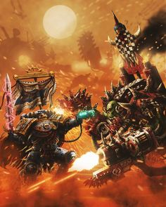 An Ultramarines brother-sergeant grapples with a Warboss of the Goff Clan in the irradiated wastelands of Kylar IV. Death in the Dust Warhammer 40k Art, Warhammer Models, Warhammer Fantasy, Warhammer Armies, Martial, Orks 40k, Far Future, The Grim, Starcraft