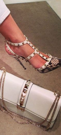 With any of the Valentino Rock Star shoes-pumps, kitten heels, flats....We want them all!
