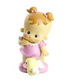 Figuras tarta bautizo. Figura hucha para pastel de bautizo, bebé niña coletas. Medidas: 18 cm