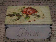 Caja vintage parisina Cajas Shabby Chic, Shabby Chic Crafts, Vintage Shabby Chic, Pintura Country, Decoupage Vintage, Altered Bottles, Pretty Box, Painted Boxes, Vintage Box