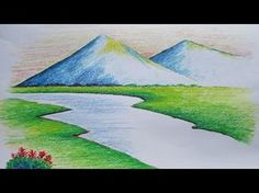 Pastel Painting in beginners mountain landscape drawing with oil pastel collection - ClipartXtras Mountain Landscape Drawing, Landscape Drawing Tutorial, Landscape Drawings, Cool Landscapes, Landscape Paintings, Drawing Sunset, Drawing Scenery, Art Drawings For Kids, Easy Drawings