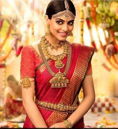 Beige Satin Georgette Plain Saree with Embroidered Border Indian Bridal Fashion, Indian Wedding Jewelry, Bridal Jewelry, Indian Weddings, Indian Jewelry, Kerala Bride, South Indian Bride, Indian Marriage, Tamil Brides