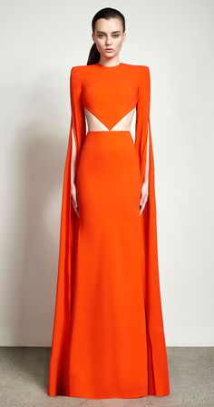 Alex Perry Spring Summer 2016 - Alex Long Sleeve Cutout Gown very few of us can actually pull off a tummy line like this and the colour.  Gorgeous on this lady.  Appreciative of the dress and model.