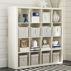 New IKEA Expedit Room Divider Shelving Unit Bookcase Display Case Shelf White Pottery Barn Look, Pottery Barn Teen, Pottery Barn Playroom, Pottery Barn Office, Cubbies, Pottery Barn Furniture, White Furniture, Ikea Expedit, Ideas Para Organizar
