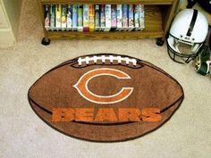 Fanmats 5712 NFL Chicago Bears Football Mat by Fanmats. $16.31. Chromojet painted in true team colors.. 100% nylon carpet and non-skid Duragon® latex backing. Officially Licensed. Machine Washable. Made in the USA. For all those football fans out there! Show your team loyalty with a FANMAT! Football-shaped area rugs by FANMATS. Made in U.S.A.  100% nylon carpet and non-skid Duragon® latex backing.  Machine washable.  Officially licensed.  Chromojet painted in t...