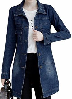 923392c24c41e Tymhgt Womens Plus-size Slim Fit Turn Down Collar Mid Length Jean Jacket at  Amazon Women s Coats Shop