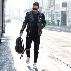 Still can be in leathers, while wearing white sneakers, he pulls this off.