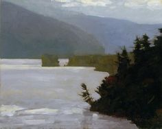 'Hill Beyond Lake George' by Seattle-based American painter Marc Bohne (b.1955). Oil on panel, 8 x 10 in. via the artist's site