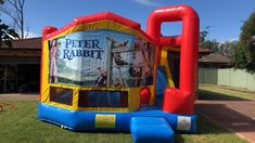 Our Peter Rabbit Large Combo Jumping Castle, this jumping castle as an external slide and a wide jumping area. Your kids will truly love it to be added on his/her party. Book this now with other party deals and get a special discount. Visit our site to find out more. #inflatables #jumpingcastle #bouncingcastle #partyhiresydney #funtimepartyhire