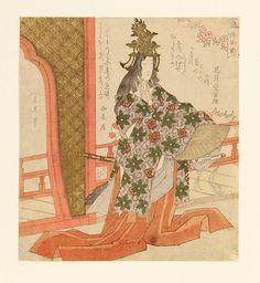 Yashima Gakutei 1786 - 1868 - ''Hotoke Gozen - Lady Hotoke'' - Farbholzschnitt. 20,5 x 18,5 cm. Bez. l. und r. o. Unter Passepartout. Gakutei war bekannt für seine Surimono (japanische Grußkarten).