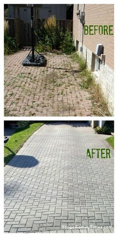 Stop buying weed killers or weeding by hand! How to get a weed-free brick driveway (or patio) that stays that way. A DIY weed prevention method that lasts - and is non-toxic. How to get rid of weeds between interlocking bricks. #howto #diy #weeds #patio #outdoorprojects #outdoor #brick