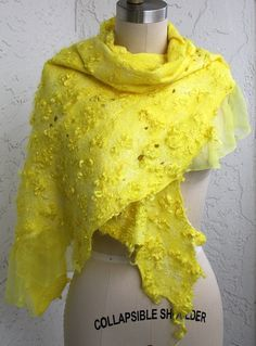Felted eco-friendly fur warm bright yellow silk scarf woman lacy unique designer mohair eco fur natural wearable wool gift Christmas present