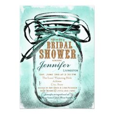 Country Mason Jar Bridal Shower Invitations