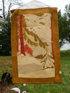 Antique Tapestry  Wall Hanging Folk Art Winter by kickstartvintage, $42.00