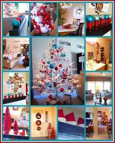 Turquoise and red Christmas decor