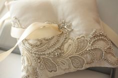 Wedding Ring bearer pillow, Unique beaded ring pillow - NICO Pillow (Made to Order)