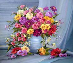 cuadros de flores pintados al oleo