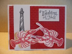 Stampin'Up! By the Tide and From Land to Sea sets in Memento Black and Real Red.  Thinking of you.