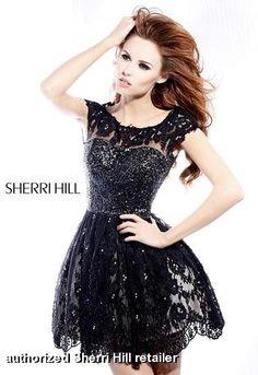 1818ef8a0f4 Sherri Hill 2957 - Black Lace Open Back Prom Dresses Online