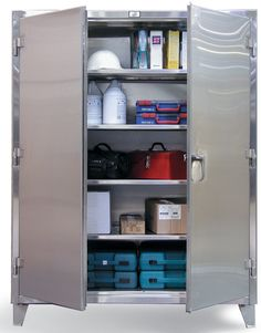 Strong Hold Products 78 H x 48 W x 24 D 2 Door Storage Cabinet Strong Hold Products Storage Shed Organization, Door Storage, Garage Storage, Storage Shelves, Locker Storage, Shelf, Garage Tools, Garage Art, Organizing