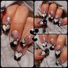 Valentine`s Day Nail Art | Anti Valentine's Nail Design #black&white #mani #polish #heart #nailart - bellashoot.com & bellashoot iPhone & iPad app