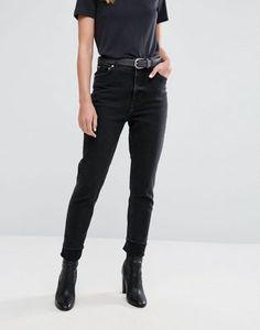 Черные выбеленные джинсы в винтажном стиле с завышенной талией Cheap Monday