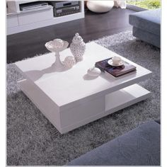 Delicieux 5114C Modern White Lacquer Square Coffee Table
