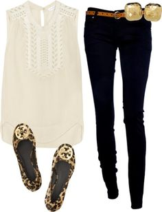 Adorable Cheetah Tory Burch flats  The white blouse and black jeans
