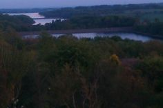 Sunset at View Point, Anglezarke, Nr Chorley, Lancashire, UK and view of the 3 Reservoirs: Anglezarke Reservoir, Rivington Upper Reservoir and Rivington Lower Reservoir