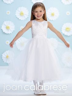 Wholesale Joan Calabrese 2016 Flower Girl Dresses Crew Sleeveless Beads Sash Tulle Tea Length First Communion Pageant Girls Dresses 116383 Plus Size, Free shipping, $81.68/Piece | DHgate Mobile