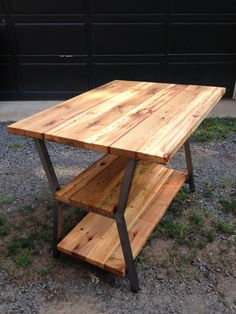 Reclaimed wood and Steel Kitchen island  by RobertBlumelDesigns, $1800.00