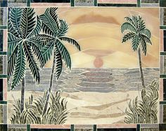 Handcrafted marble kitchen mural...great for an outdoor kitchen...especially here in Florida...
