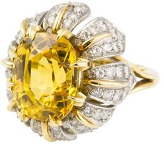 TIFFANY & CO. SCHLUMBERGERYellow Sapphire Diamond Platinum Gold Ring