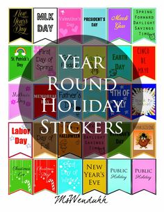 Some year round holiday stickers for your planner or calendar!P tried to include as much holidays as I can and even included Public Holidays as requested! You can start using these now since Halloween is right around the corner! Download Holiday Stickers Click here to see how to turn these into stickers! How to Make …Continue Reading...