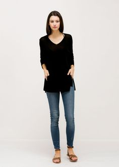 Summer Sweater With Big Front Pocket Black