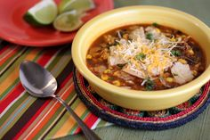 Recipe, grocery list, and nutrition info for Healthy Chicken Tortilla Soup. An easy recipe for chicken tortilla soup that's full of healthy vegetables, beans, and spices. Healthy Chicken Tortilla Soup, Easy Taco Soup, Easy Chicken Recipes, Soup Recipes, Cooking Recipes, Healthy Recipes, Chicken Soup, Copycat Recipes, Healthy Soups