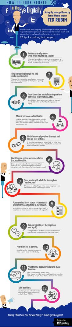 "Ted Rubin infographic on ""How to Look People In the Eye Digitally. Marketing Mail, Content Marketing, Internet Marketing, Social Media Marketing, Digital Marketing, Social Media Etiquette, Social Media Tips, Digital Literacy, Instructional Design"
