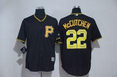 Pirates 22 Andrew McCutchen Black Team Logo Print Cool Base Jersey