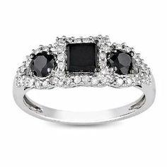 10K White Gold 1 CT TDW Black and White Diamond Fashion Ring (G-H, I2-I3) Amour. $422.99