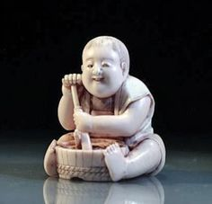 Superb Japanese Carved Ivory Netsuke, Meiji Period