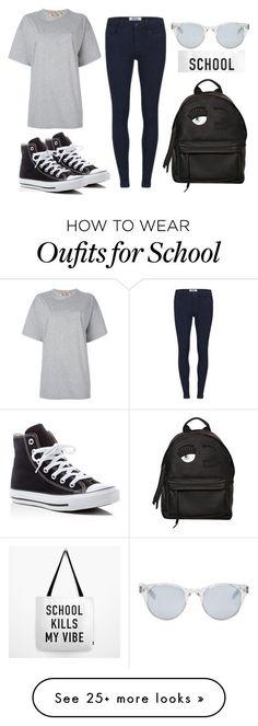 """""""School"""" by kinderlili on Polyvore featuring N°21, ONLY, Converse, Sun Buddies, Chiara Ferragni, school, black and grey"""