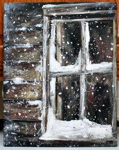 "Snow Window Original Painting on 11"" x 14"" canvas board, Unframed winter scene art, Christmas Winter scene art, Original Acrylic art…"