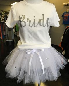 e03bad018 Items similar to Bride t-shirt, tee, shirt and matching tutu rhinestone  skirt for bachelorette party or bridal shower on Etsy