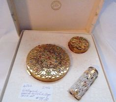 Vintage Hollywood Harriet Hubbard Ayer 3 Piece Compact Set  jeweled