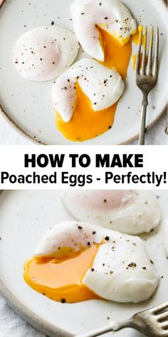 Poached eggs are the perfect healthy breakfast recipe. And guess what - it's easy to learn how to poach an egg perfectly every time. When you learn how to make poached eggs you can add them to toast, asparagus and other veggies # paleo Breakfast Dishes, Healthy Breakfast Recipes, Healthy Drinks, Brunch Recipes, Healthy Snacks, Recipes Dinner, Dinner Healthy, Healthy Recipes With Eggs, Easy Egg Recipes